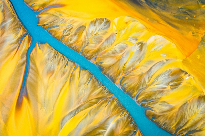 Blue river with yellow feathers