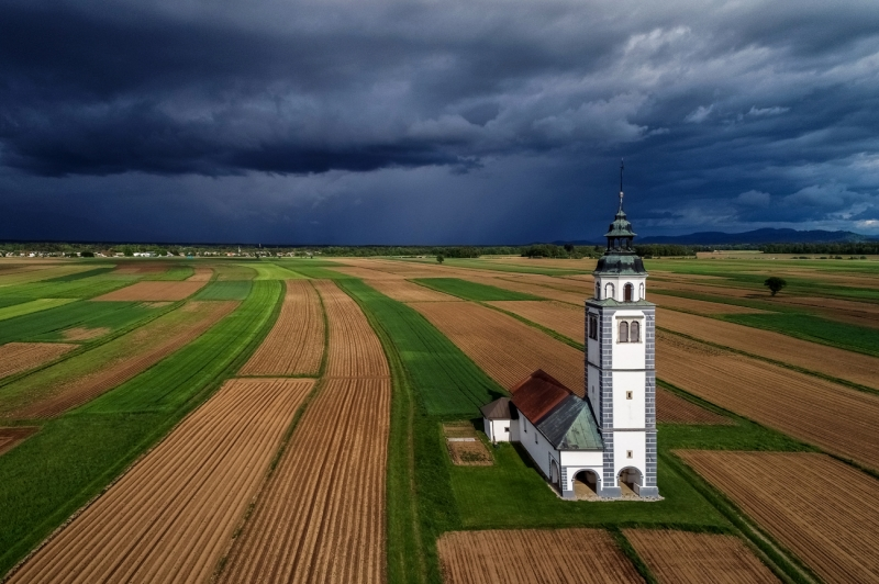 Church on the Fields Before Storm